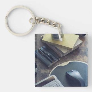 Kaffee Einseitiger Quadratischer Acryl Schlüsselanhänger