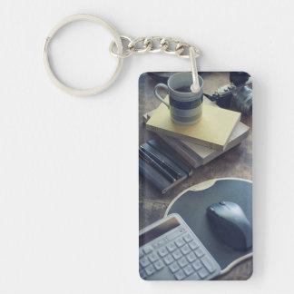 Kaffee Einseitiger Rechteckiger Acryl Schlüsselanhänger