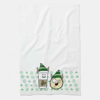 Kaffee-Elf und verrückter Krapfen-Elf Handtuch