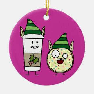Kaffee-Elf und verrückter Krapfen-Elf Rundes Keramik Ornament