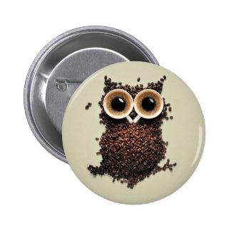 Kaffee-Eule Runder Button 5,1 Cm