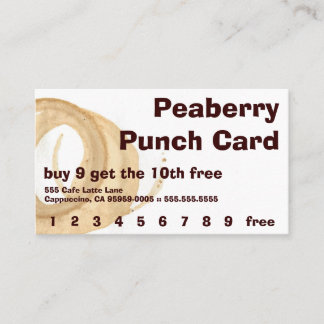 Kaffee-Fleck-frei hinzugefügte Lochkarte Treuekarte
