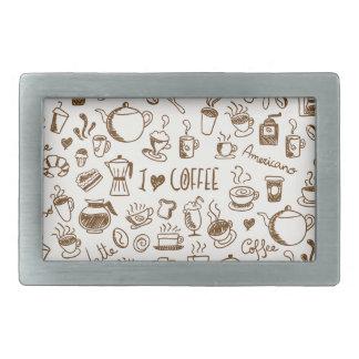Kaffee-Gekritzel Rechteckige Gürtelschnalle