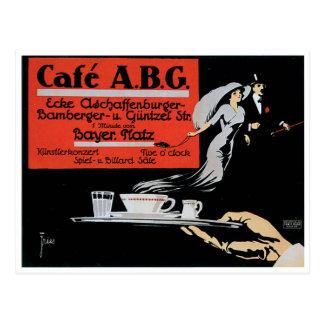 Kaffee-Geschäfts-Anzeigen-Kunst des Café-ABG Postkarte