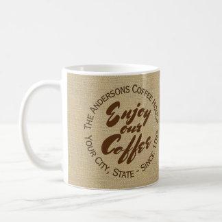 """Kaffee-Geschäftslogo Leinwand-""""genießen Sie heraus Kaffeetasse"""