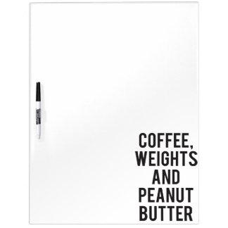 Kaffee, Gewichte und Erdnussbutter - lustige Memoboard