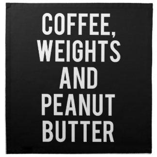 Kaffee, Gewichte und Erdnussbutter - lustige Serviette