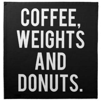 Kaffee, Gewichte und Schaumgummiringe - lustige Serviette
