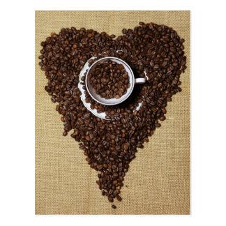 Kaffee Herz Postkarte