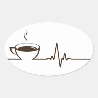 Kaffee-Herzschlag Ovaler Aufkleber
