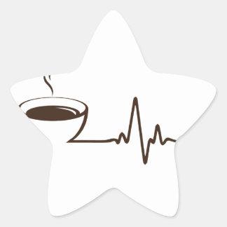 Kaffee-Herzschlag Stern-Aufkleber