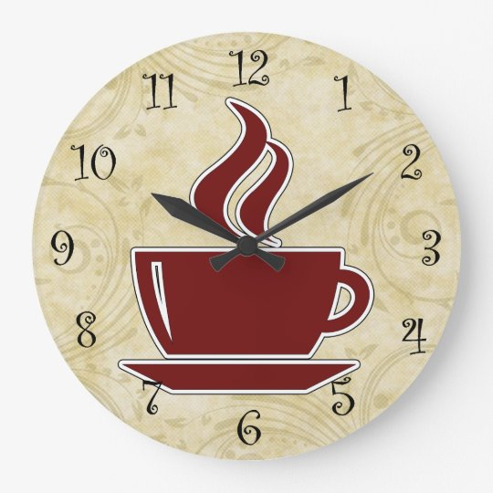 Kaffee-Küchen-Wanduhren Große Wanduhr | Zazzle