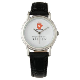 Kaffee-Liebhaber-stilvoller niedlicher warmer Uhr
