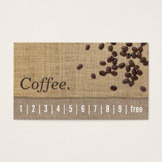 Kaffee-Loyalitäts-Lochkarte-Leinwand u. Visitenkarte