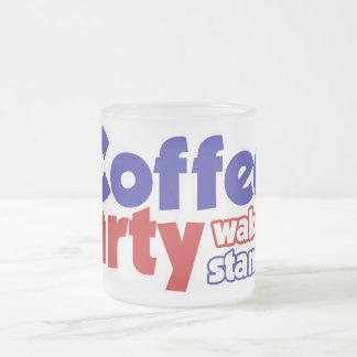 Kaffee-Party-Bewegung wachen stehen oben auf Matte Glastasse