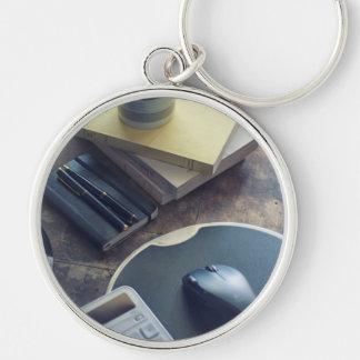 Kaffee Silberfarbener Runder Schlüsselanhänger