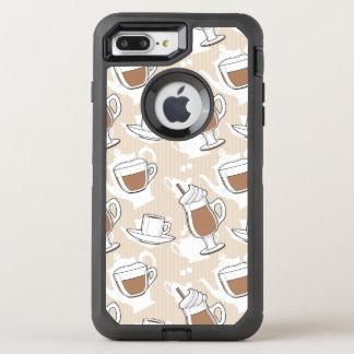 Kaffee, süßes Muster OtterBox Defender iPhone 8 Plus/7 Plus Hülle