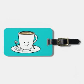 Kaffee-Tasse latte Kaffee, der Zucker isst, Gepäckanhänger