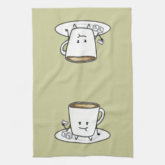 Kaffee-Tasse latte Kaffee, der Zucker isst, Geschirrtuch