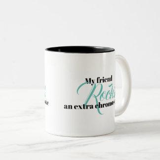 """Kaffee-Tasse """"mein Freund schaukelt ein Zweifarbige Tasse"""