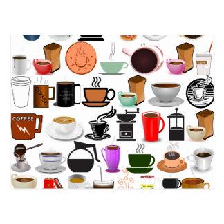 Kaffee-Tassen (addieren Sie Hintergrund-Farbe) Postkarte