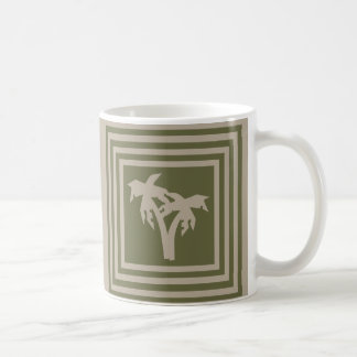Kaffee-Tassen-olivgrünes Grün-TAN-Palme OP1028 Kaffeetasse