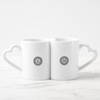 Kaffee-Tassen-Set L u. m-Monogramm-Entwurf Liebestassen