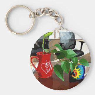 Kaffee-Tassen und Pflanzen Schlüsselanhänger