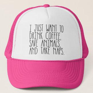 Kaffee-Tier-u. Nickerchen-heißes Truckerkappe