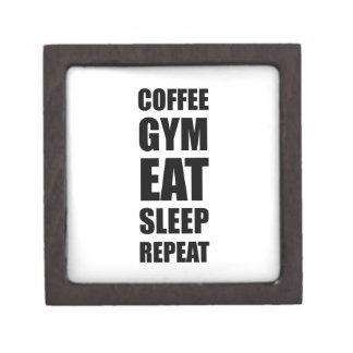 Kaffee-Turnhallen-Arbeit essen Schlaf-Wiederholung Schachtel