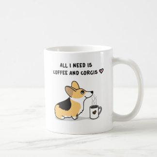 Kaffee u. Corgis [tricolor] Kaffeetasse