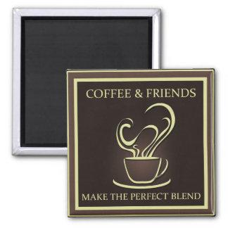 Kaffee und Freund-Magnet Quadratischer Magnet