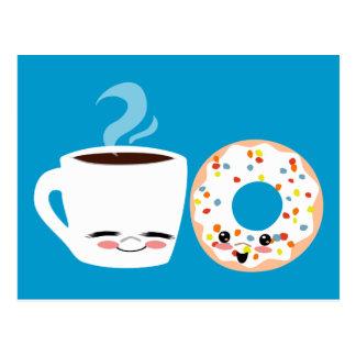 Kaffee-und Krapfen-Kumpel Postkarte
