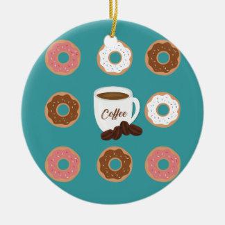 Kaffee und Schaumgummiringe Rundes Keramik Ornament
