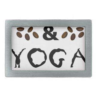 Kaffee und Yoga behält das Gehen Rechteckige Gürtelschnalle