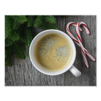 Kaffee und Zuckerstange für die Feiertage Fotodruck