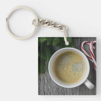 Kaffee und Zuckerstange für die Feiertage Schlüsselanhänger