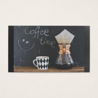 Kaffee-Zeit mit Schalen-und Kaffee-Topf Visitenkarte