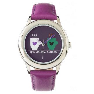 Kaffee-Zeit-stilvoller Cartoon-lustiges Trendy Armbanduhr