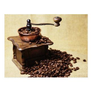 Kaffeebohnen Kaffeemühle Postkarte
