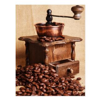 Kaffeebohnen Kaffeemühle Postkarten