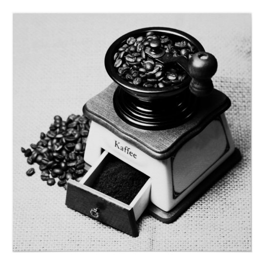 Kaffeebohnen Kaffeemühle Schwarz Weiss Poster