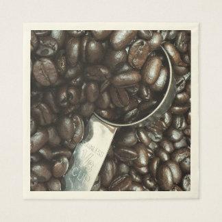 Kaffeebohnen und Schaufel-Fotografie Serviette