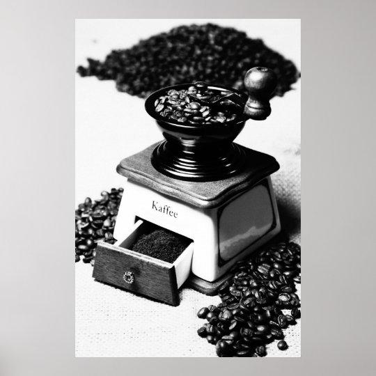 Kaffeemühle Schwarz Weiß Küchenbild Poster
