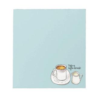 Kaffeepause-Aquarell und Tinten-Illustration Notizblock