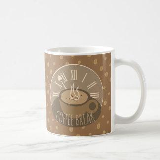 Kaffeepause-Uhr und Bohnen Kaffeetasse