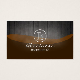 Kaffeestube-elegantes hölzernes Monogramm Visitenkarte
