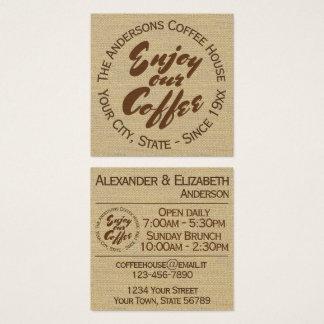 """Kaffeestube """"genießen unseren Kaffee """" Quadratische Visitenkarte"""