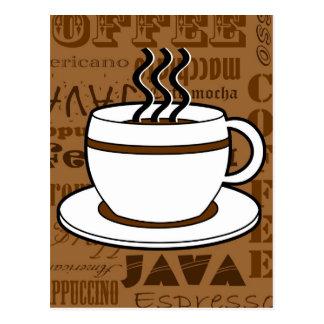 Kaffeetasse - Kaffee-Wort-Druck - Brown Postkarte