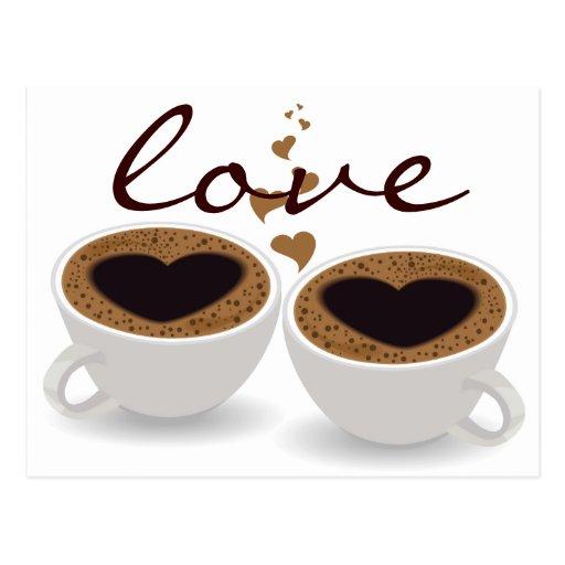 Kaffeetasse-Paar-Herzen und Liebe-Postkarte